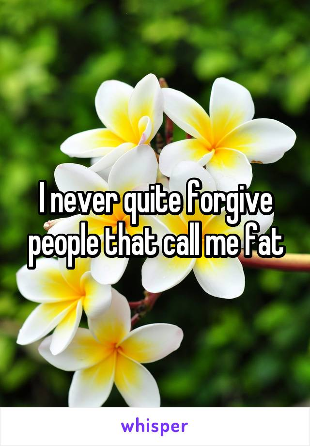 I never quite forgive people that call me fat