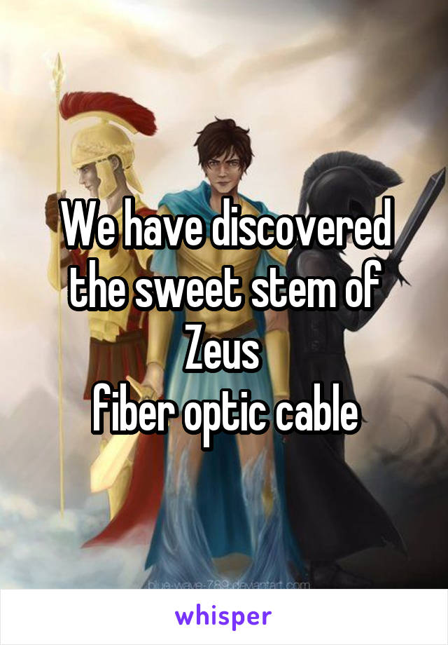 We have discovered the sweet stem of Zeus  fiber optic cable