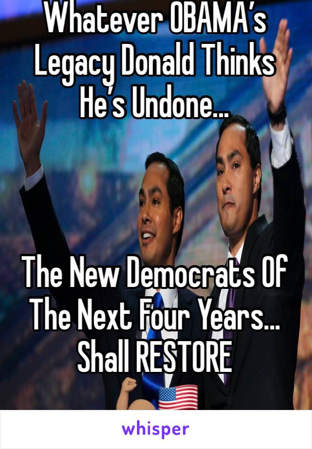 Whatever OBAMA's Legacy Donald Thinks He's Undone...    The New Democrats Of The Next Four Years... Shall RESTORE 💪🏽🇺🇸
