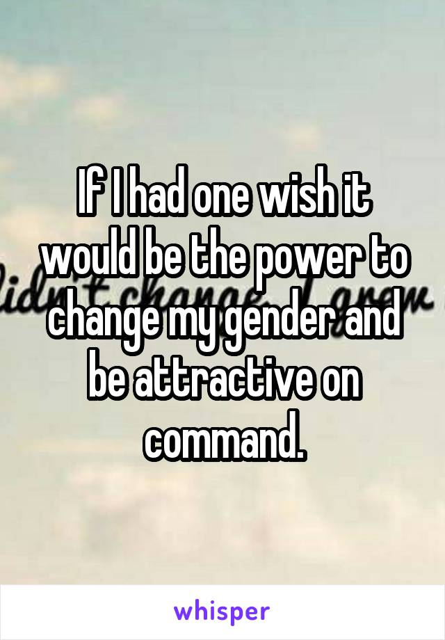 If I had one wish it would be the power to change my gender and be attractive on command.
