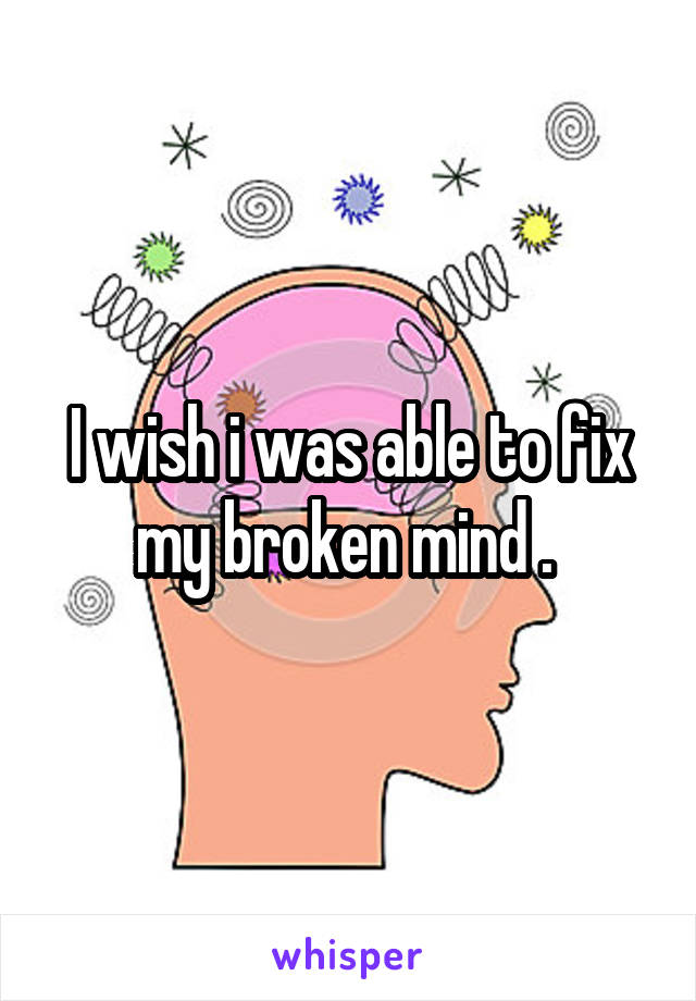 I wish i was able to fix my broken mind .