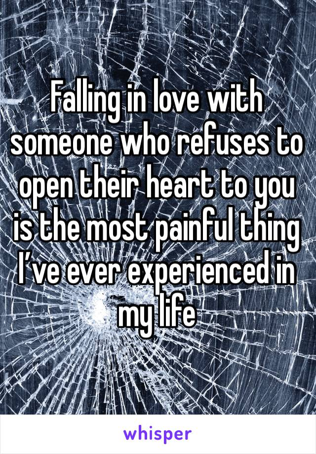 Falling in love with someone who refuses to open their heart to you is the most painful thing I've ever experienced in my life