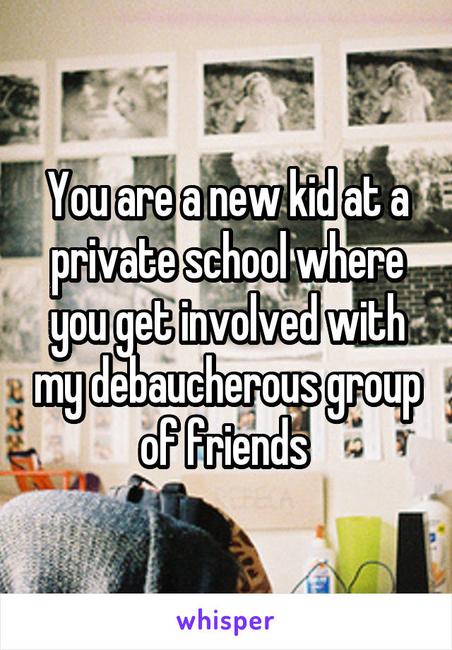 You are a new kid at a private school where you get involved with my debaucherous group of friends