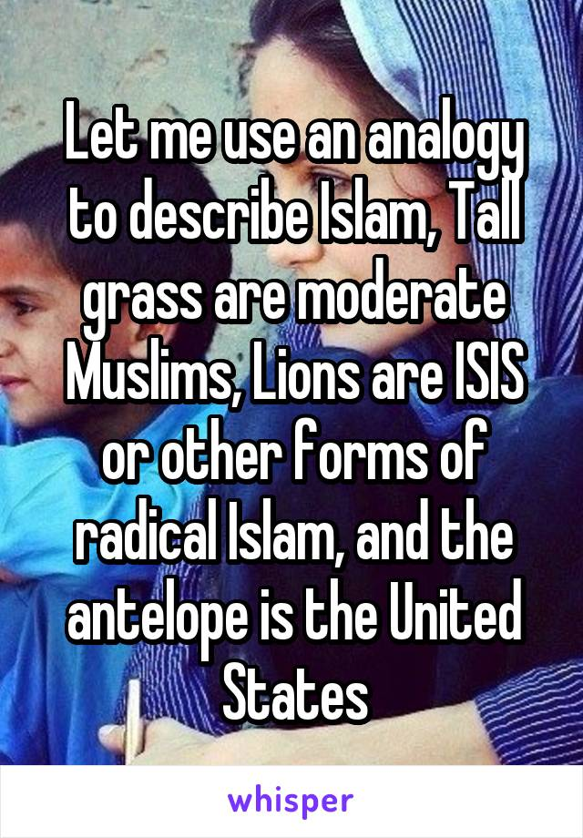 Let me use an analogy to describe Islam, Tall grass are moderate Muslims, Lions are ISIS or other forms of radical Islam, and the antelope is the United States