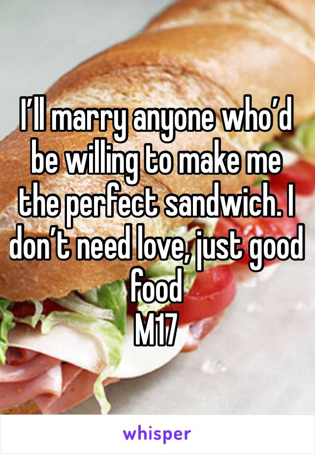 I'll marry anyone who'd be willing to make me the perfect sandwich. I don't need love, just good food  M17