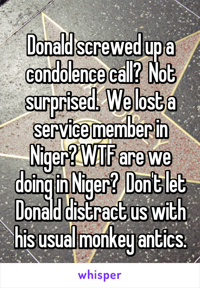 Donald screwed up a condolence call?  Not surprised.  We lost a service member in Niger? WTF are we doing in Niger?  Don't let Donald distract us with his usual monkey antics.