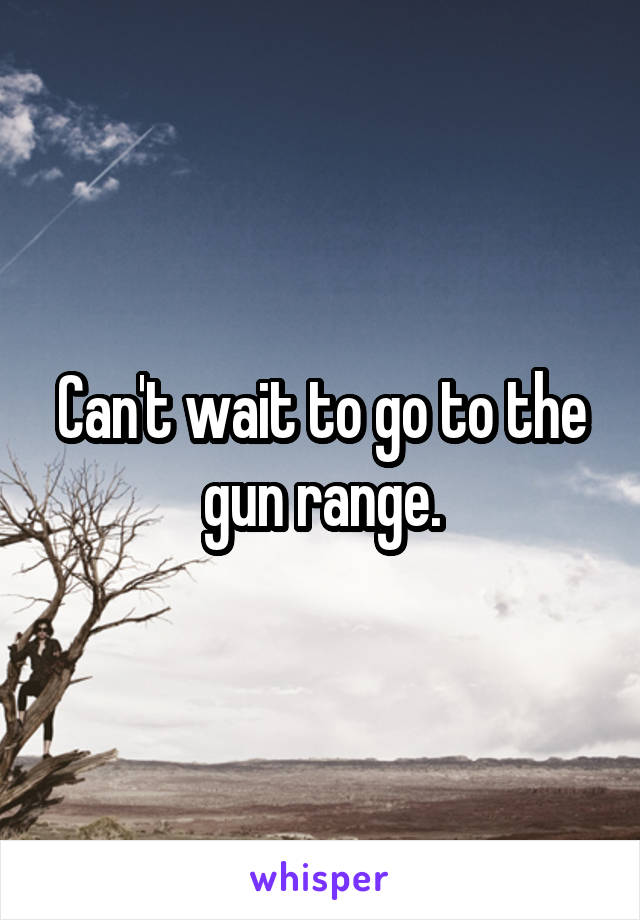 Can't wait to go to the gun range.