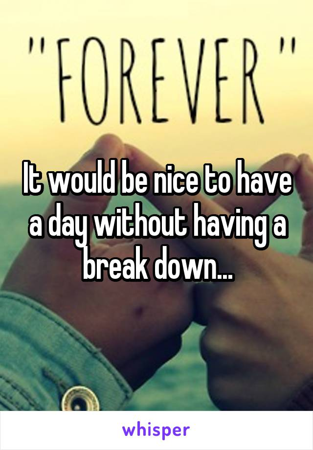 It would be nice to have a day without having a break down...