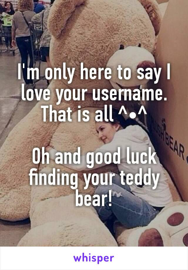 I'm only here to say I love your username. That is all ^•^  Oh and good luck finding your teddy bear!