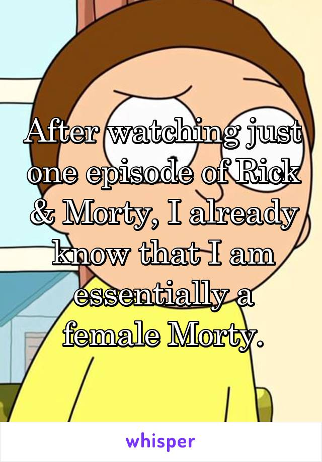 After watching just one episode of Rick & Morty, I already know that I am essentially a female Morty.