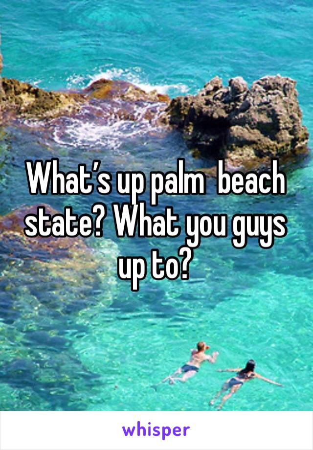 What's up palm  beach state? What you guys  up to?