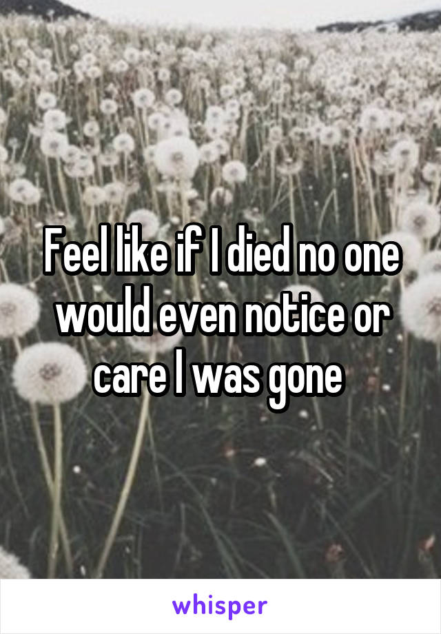 Feel like if I died no one would even notice or care I was gone