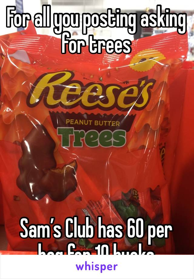 For all you posting asking for trees       Sam's Club has 60 per bag for 10 bucks