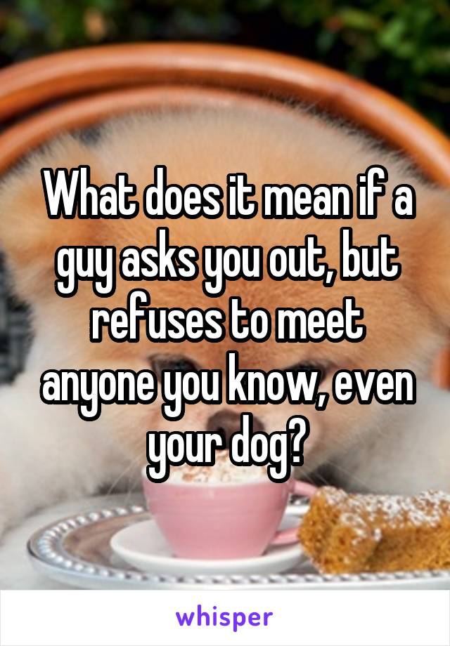 What does it mean if a guy asks you out, but refuses to meet anyone you know, even your dog?