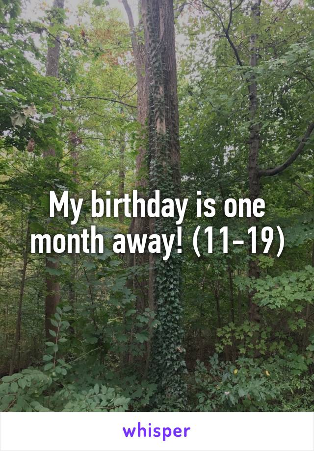 My birthday is one month away! (11-19)