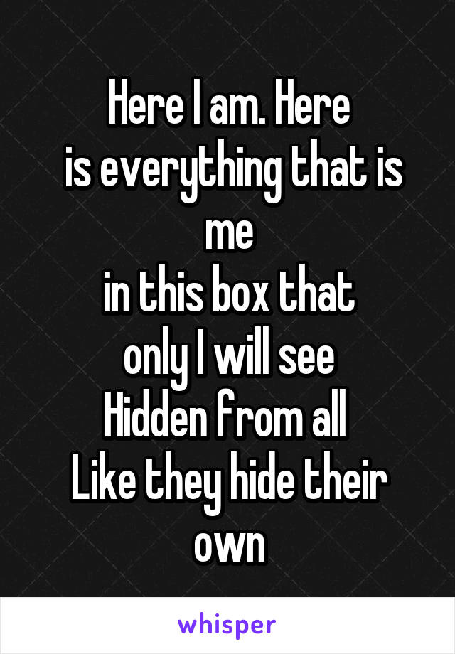 Here I am. Here  is everything that is me  in this box that  only I will see Hidden from all  Like they hide their own
