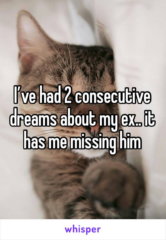 I've had 2 consecutive dreams about my ex.. it has me missing him