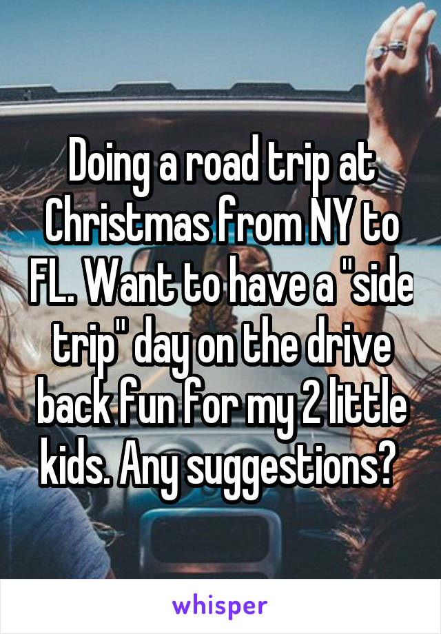 """Doing a road trip at Christmas from NY to FL. Want to have a """"side trip"""" day on the drive back fun for my 2 little kids. Any suggestions?"""
