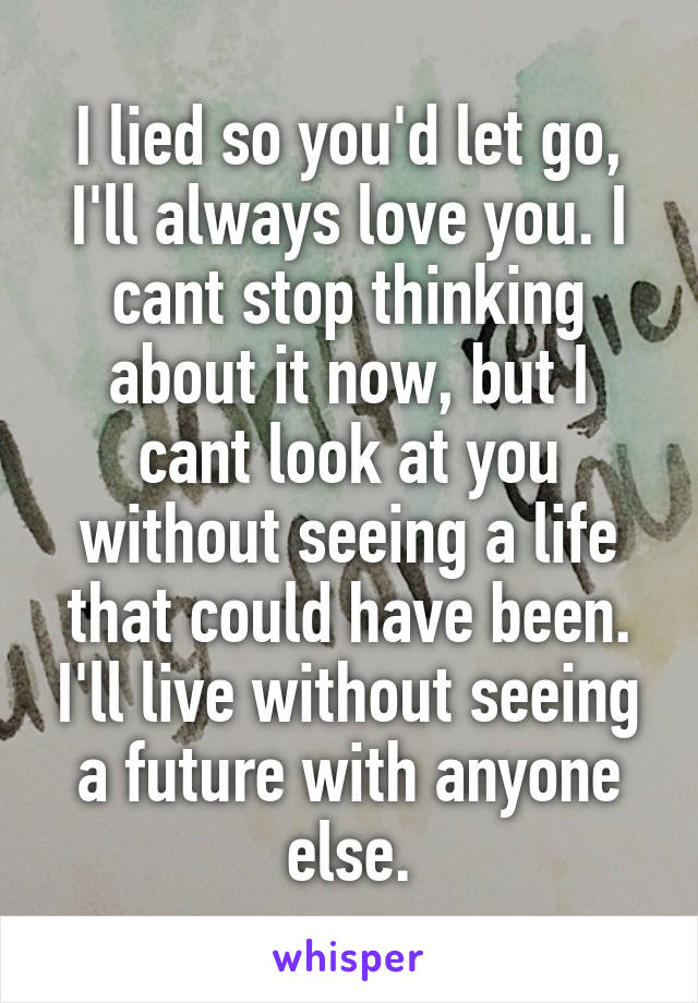 I lied so you'd let go, I'll always love you. I cant stop thinking about it now, but I cant look at you without seeing a life that could have been. I'll live without seeing a future with anyone else.