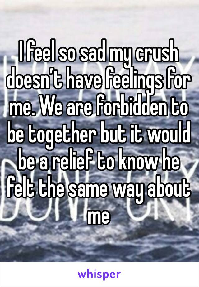 I feel so sad my crush doesn't have feelings for me. We are forbidden to be together but it would be a relief to know he felt the same way about me