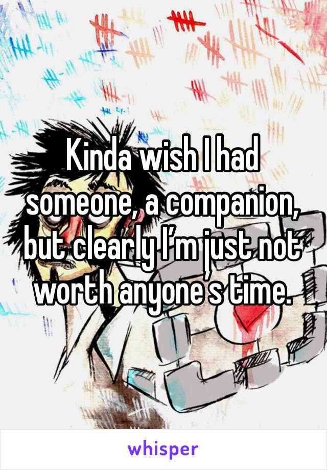 Kinda wish I had someone, a companion, but clearly I'm just not worth anyone's time.