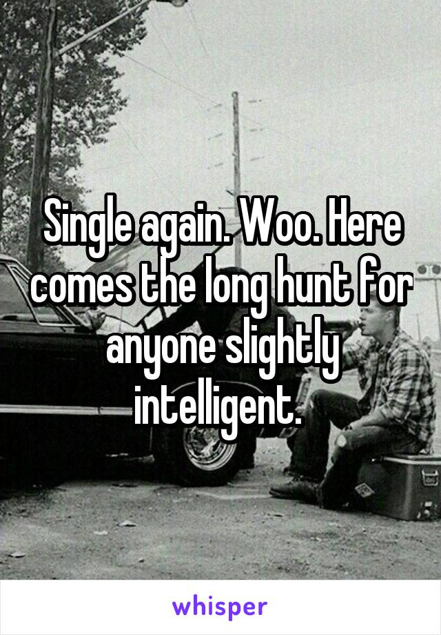 Single again. Woo. Here comes the long hunt for anyone slightly intelligent.