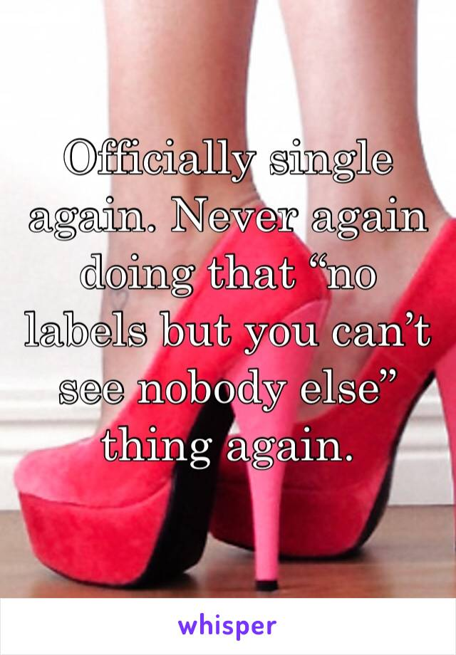 """Officially single again. Never again doing that """"no labels but you can't see nobody else"""" thing again."""