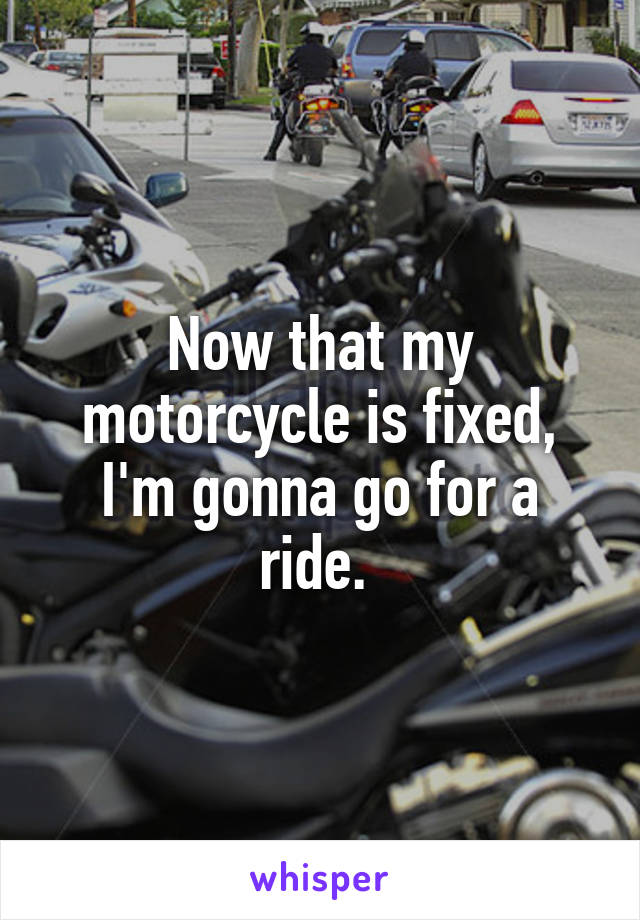 Now that my motorcycle is fixed, I'm gonna go for a ride.