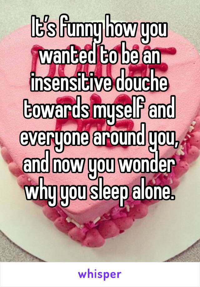 It's funny how you wanted to be an insensitive douche towards myself and everyone around you, and now you wonder why you sleep alone.