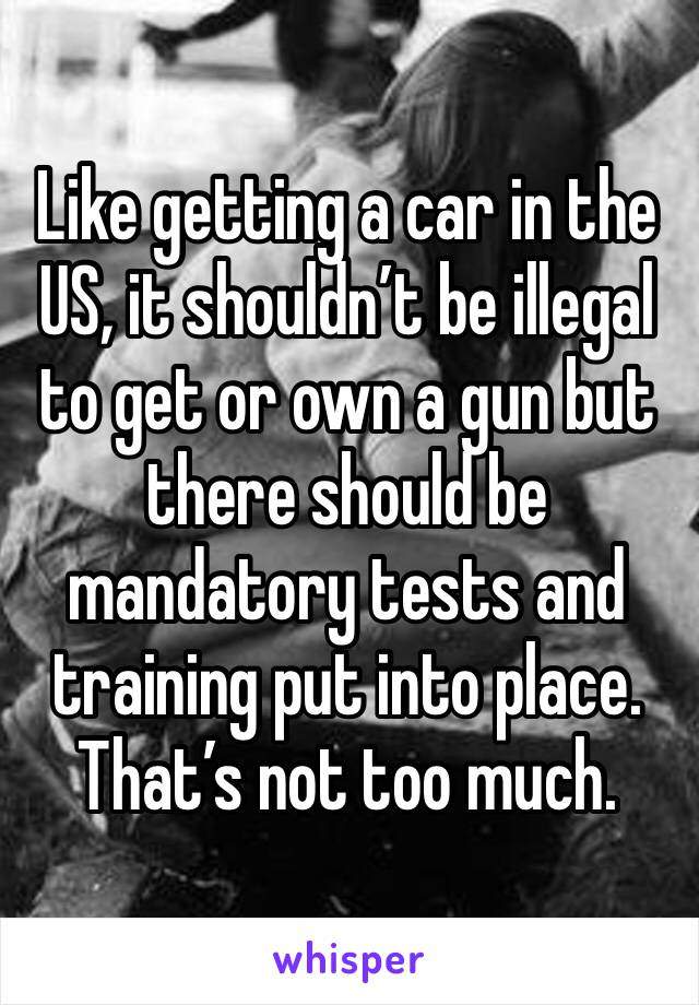 Like getting a car in the US, it shouldn't be illegal to get or own a gun but there should be mandatory tests and training put into place. That's not too much.
