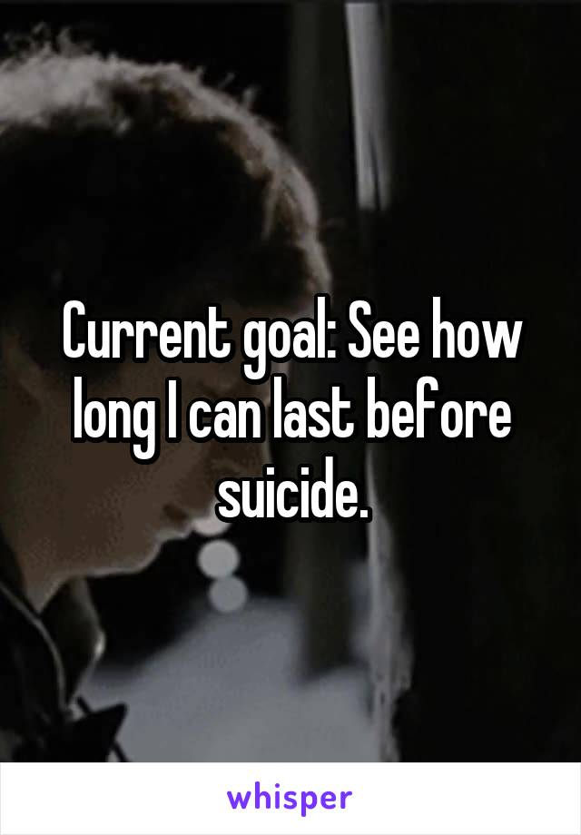 Current goal: See how long I can last before suicide.