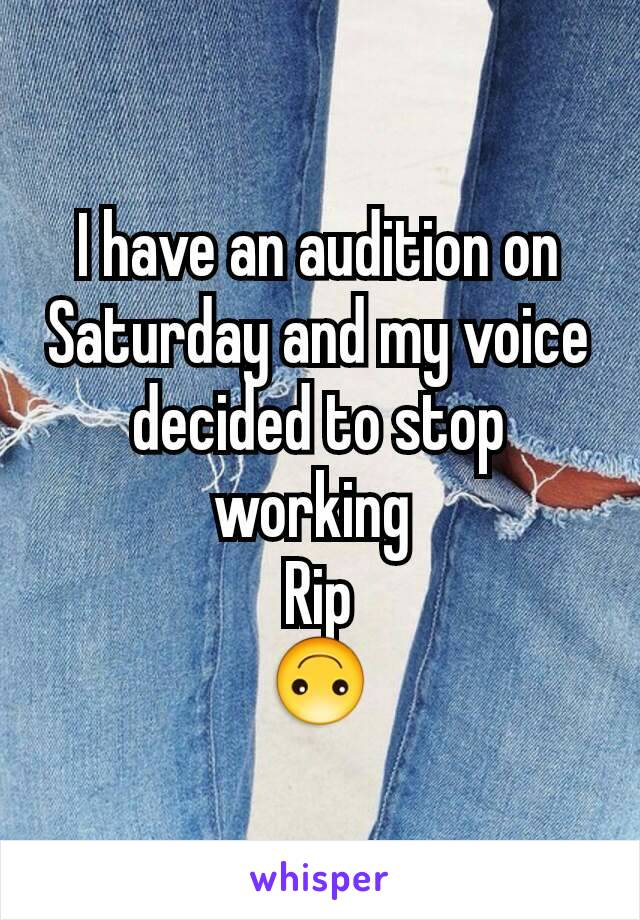 I have an audition on Saturday and my voice decided to stop working  Rip 🙃