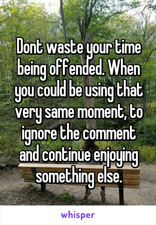 Dont waste your time being offended. When you could be using that very same moment, to ignore the comment and continue enjoying something else.