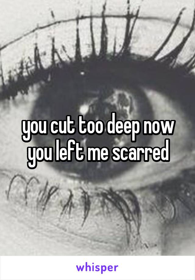 you cut too deep now you left me scarred