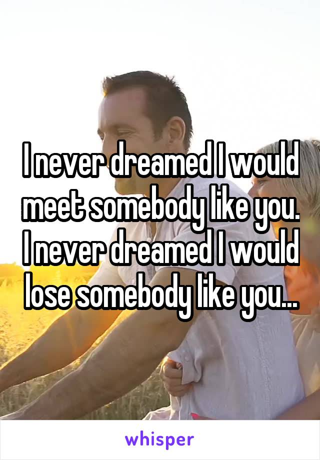 I never dreamed I would meet somebody like you. I never dreamed I would lose somebody like you...