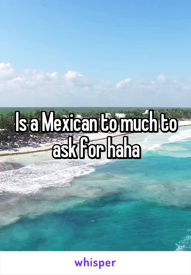Is a Mexican to much to ask for haha