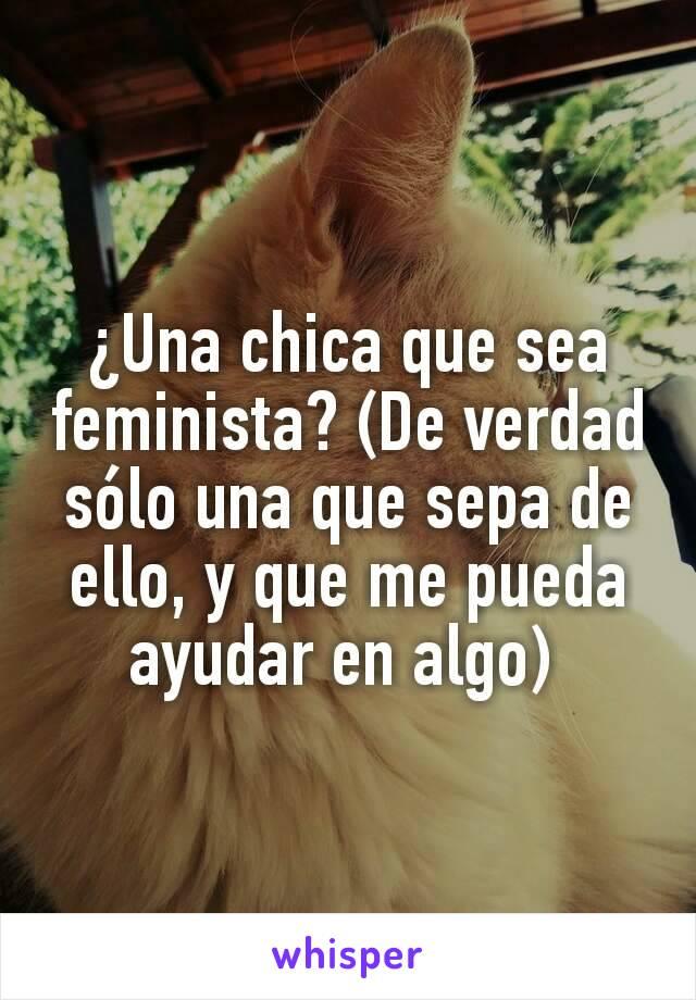 ¿Una chica que sea feminista? (De verdad sólo una que sepa de ello, y que me pueda ayudar en algo)