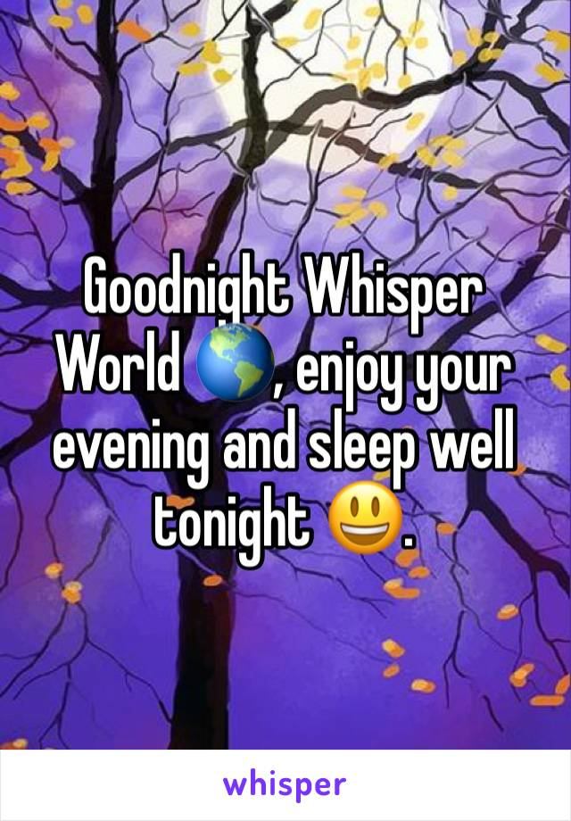 Goodnight Whisper World 🌎, enjoy your evening and sleep well tonight 😃.