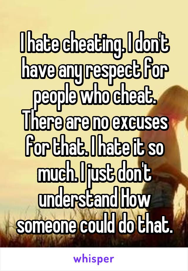 I hate cheating. I don't have any respect for people who cheat. There are no excuses for that. I hate it so much. I just don't understand How someone could do that.