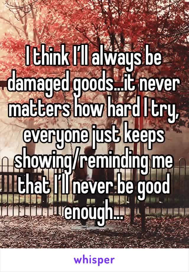 I think I'll always be damaged goods...it never matters how hard I try, everyone just keeps showing/reminding me that I'll never be good enough...