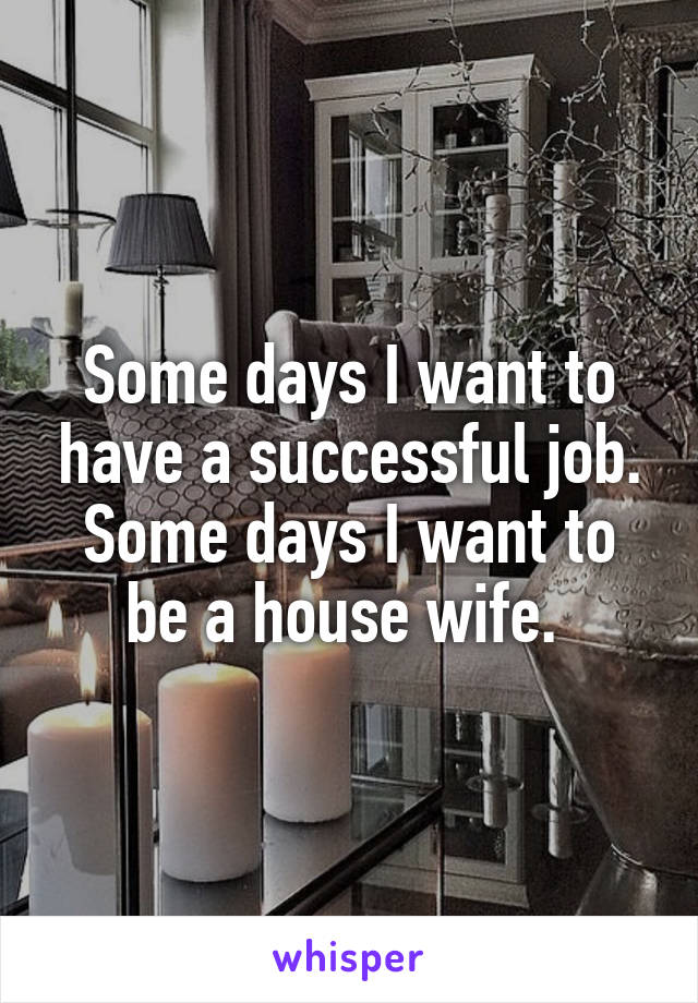 Some days I want to have a successful job. Some days I want to be a house wife.