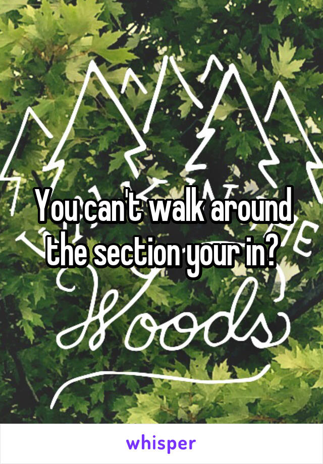 You can't walk around the section your in?