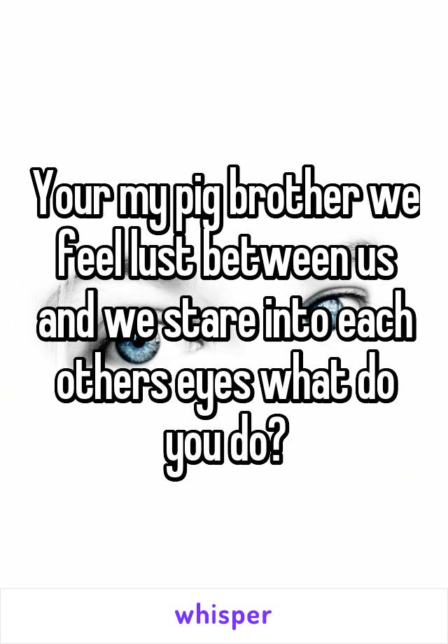 Your my pig brother we feel lust between us and we stare into each others eyes what do you do?