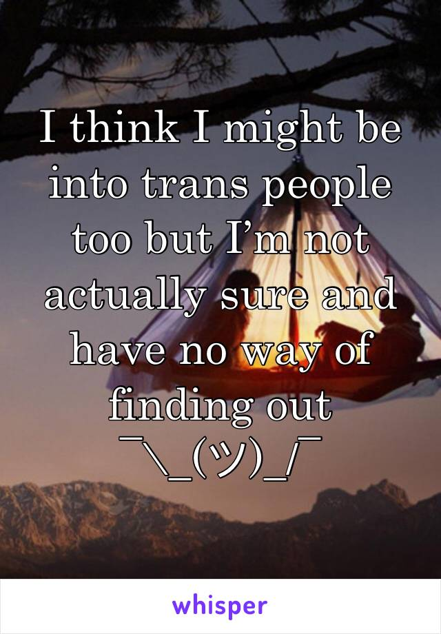 I think I might be into trans people too but I'm not actually sure and have no way of finding out ¯\_(ツ)_/¯