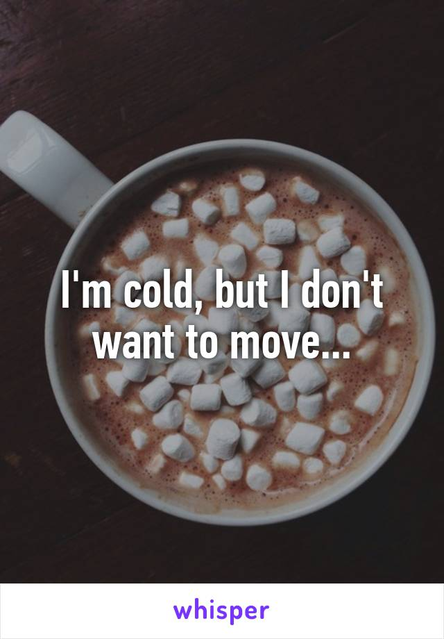 I'm cold, but I don't want to move...