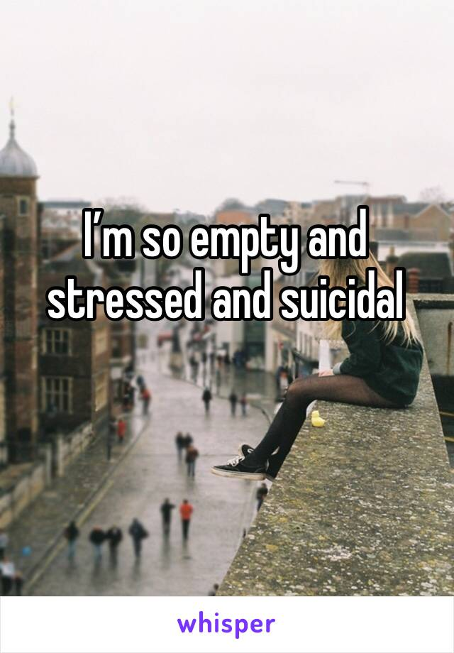 I'm so empty and stressed and suicidal