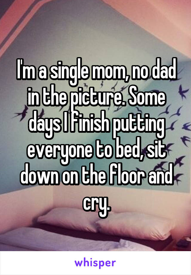 I'm a single mom, no dad in the picture. Some days I finish putting everyone to bed, sit down on the floor and cry.