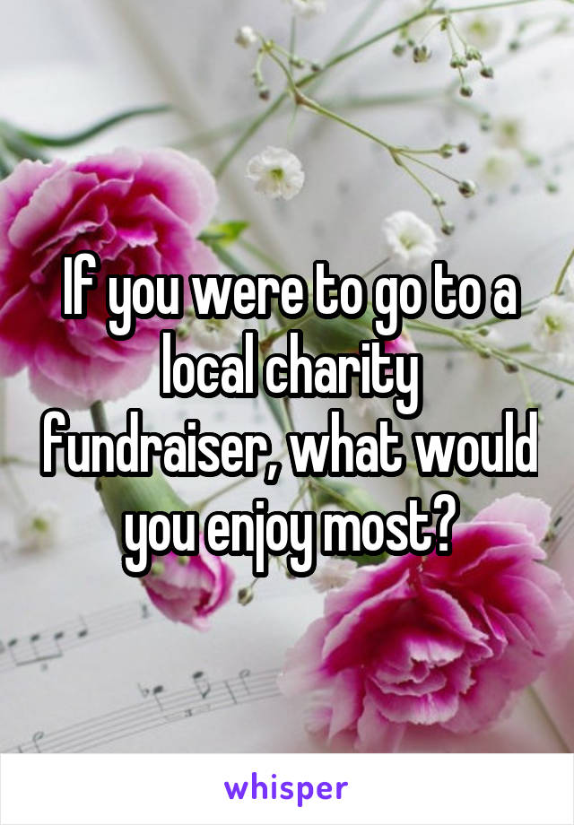 If you were to go to a local charity fundraiser, what would you enjoy most?