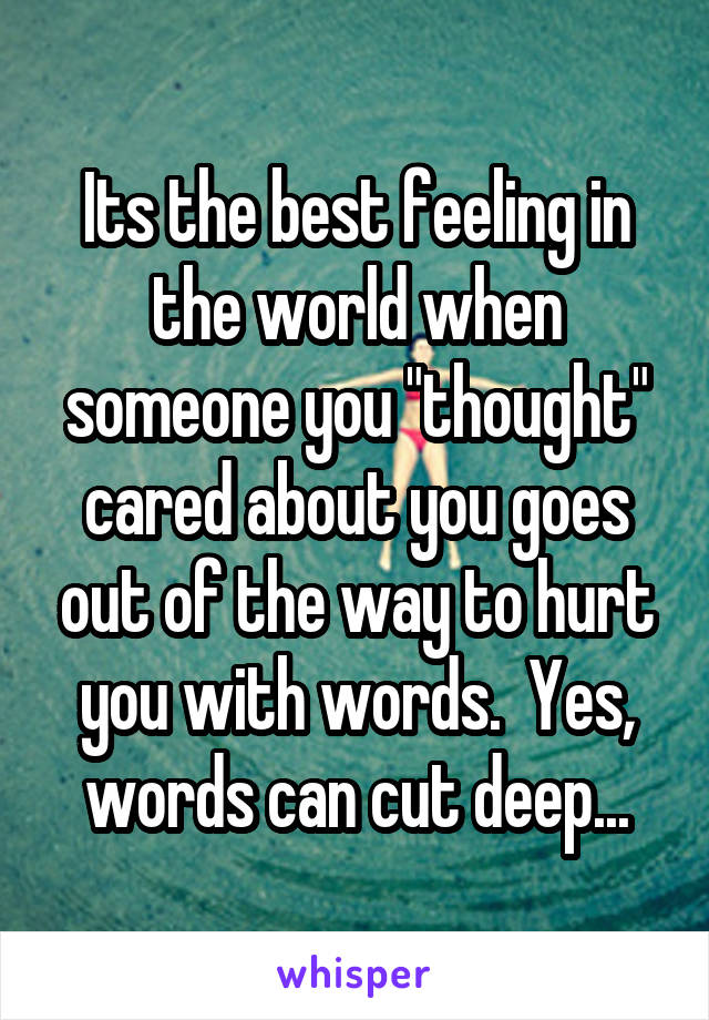 "Its the best feeling in the world when someone you ""thought"" cared about you goes out of the way to hurt you with words.  Yes, words can cut deep..."