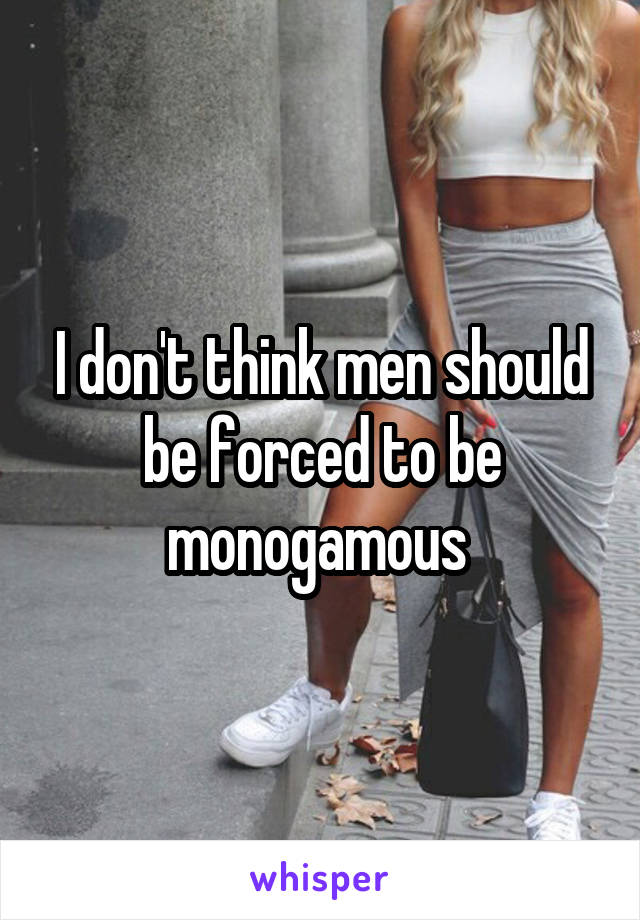 I don't think men should be forced to be monogamous